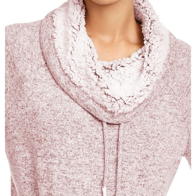 Ultra Filrt Juniors' Faux-Sherpa Lined Funnel Neck Sweatshirt Pink Medium