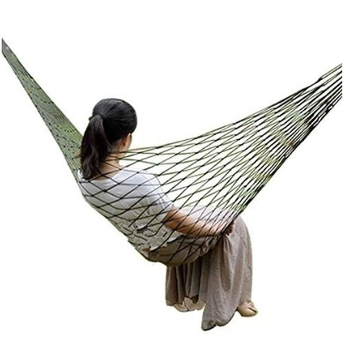 1 Pcs Deep Green Nylon Hammock Mesh Sleeping Bed Swing Outdoor Camping Travel