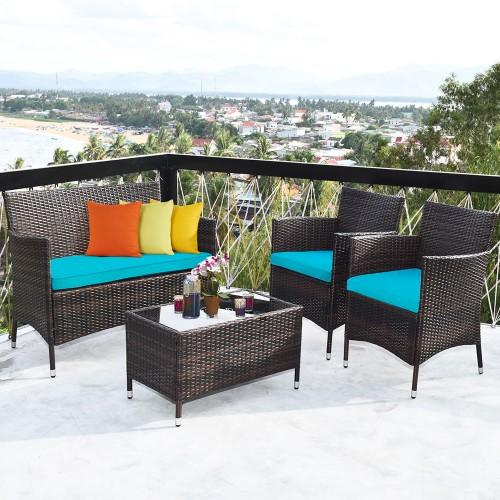 4PCS Outdoor Patio PE Rattan Wicker Table Shelf Sofa Furniture Set With Cus