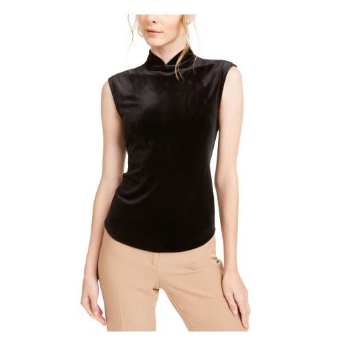 Anne Klein Women's Cap Sleeve Turtle Neck Top Black Size Large