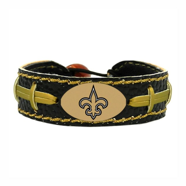New Orleans Saints Team Color NFL Gamewear Leather Football Bracelet
