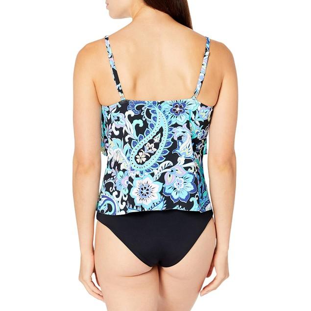 24th & Ocean Women's 2-Tiered Tankini Swimsuit Top, XX-L, Multi//Havana