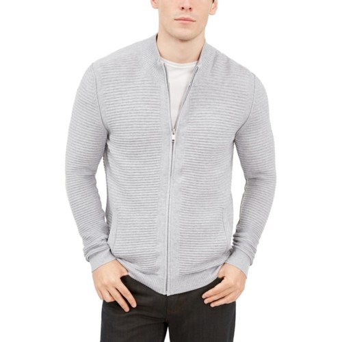 Alfani Men's Textured Zip-Front Cardigan Sweater Grey Size Extra Large