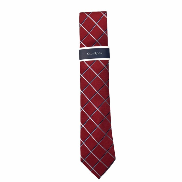 Club Room Men's Grid Tie  Red Size Regular