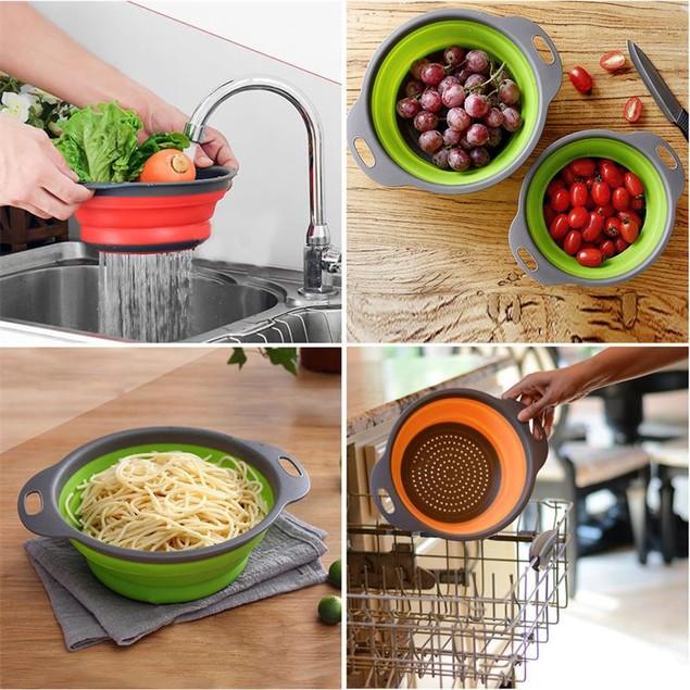Collapsible Silicone Colander Fruit Vegetable Strainer Storage Basket