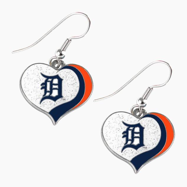 Detroit Tigers MLB Glitter Heart Earring Swirl Charm Set