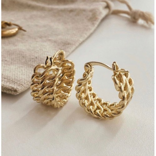 18K Gold Plated 2-Row Chain Link Hoop Earrings