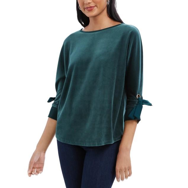 Charter Club Women's Velvet Tie Sleeve Top Green Size Small