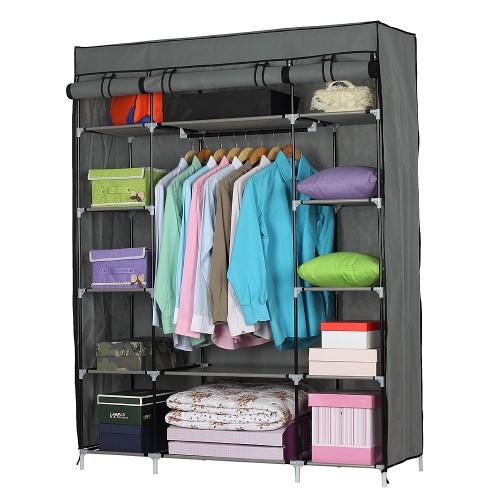 5-Layer 12-Compartment Non-woven Fabric Wardrobe Portable Closet Gray