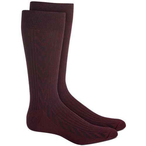 Perry Ellis Men's Textured Chevron Socks Red Size Regular