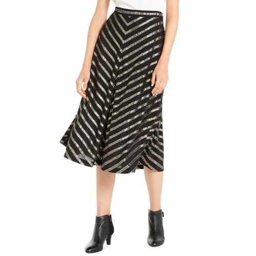 Alfani Women's Pleated Metallic-Stripe Skirt Black Size 8