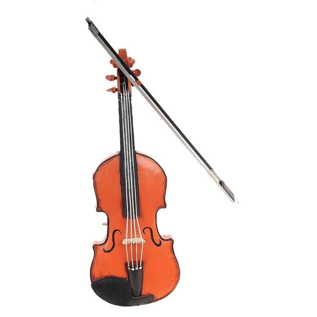 Old Modern Handicrafts Tabletop Decorative Orange Vintage Violin 1:2