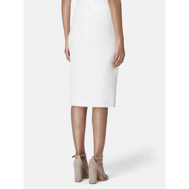 Tahari Women's Front-Slit Crepe Pencil Skirt Ivory Size 16