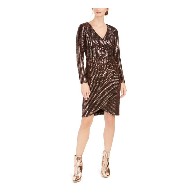 Nightway Women's Sequined Faux-Wrap Dress Rustcopper Size 8
