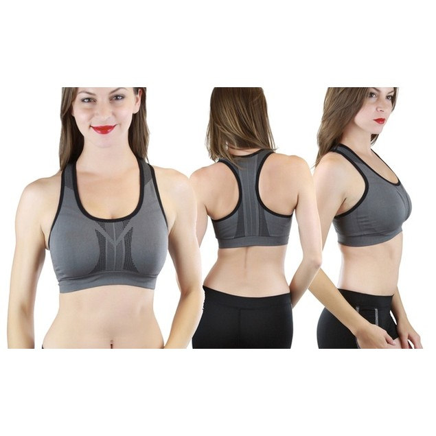 (3-Pack) ToBeInStyle Power Sport Reversible High Compression Sports Bras