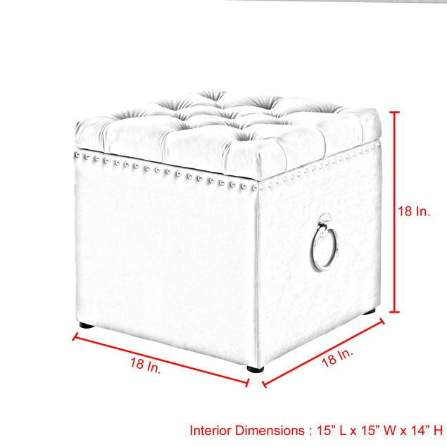 Velvet Storage Ottoman-Knob Handle|Cube|Gold|Nailhead Trim|Inspired Home