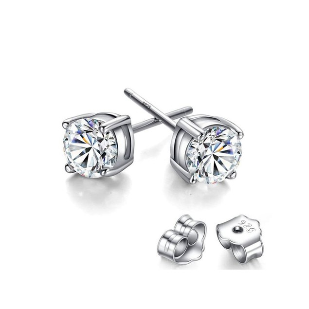 925 Sterling Silver 5mm Round 2 CTW  Cubic Zircon Stud Earring.
