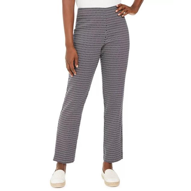JM Collection Women's Jacquard Pull On Pants Blue Size Large