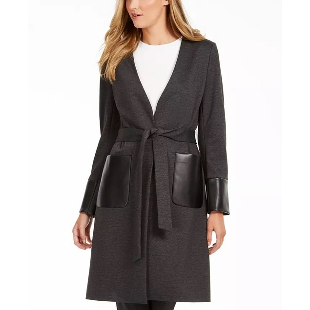 Calvin Klein Women's Faux-Leather-Trim Belted Cardigan Black Size 4