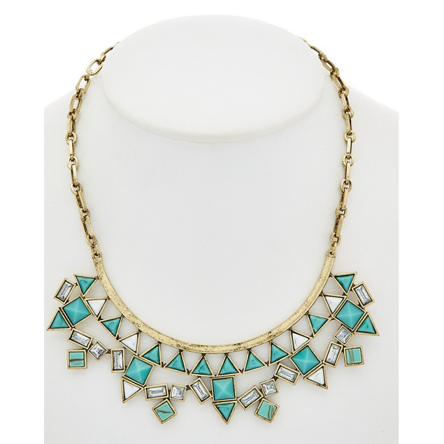 Glass & Stone Bib Necklace