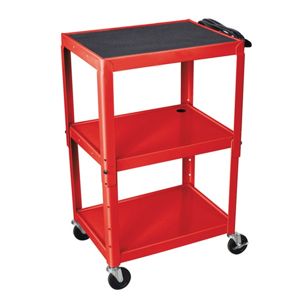 """Luxor 42"""" Adjustable Height Steel Three Flat Shelves Electric Cart - Red"""
