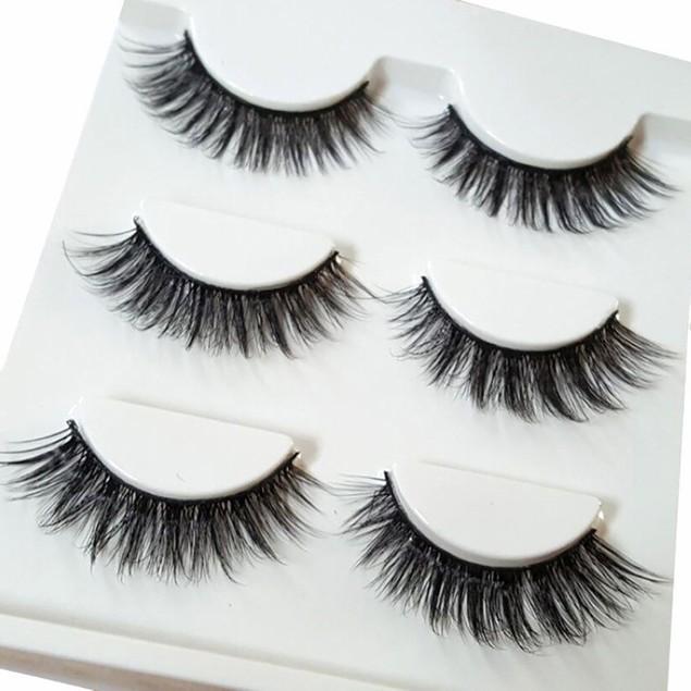 3PCS Makeup 3D Natural Soft Handmade Thick Long Cross False Fake Eyelashes