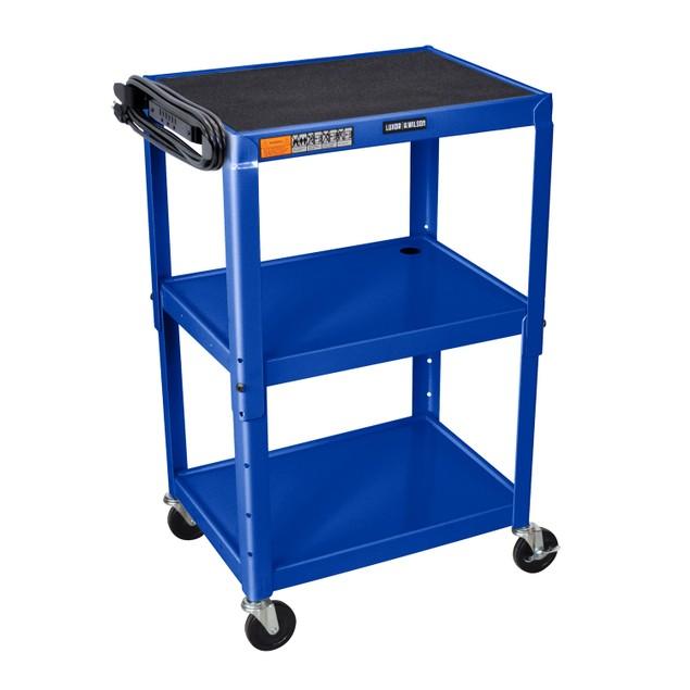 "Luxor 42"" Adjustable Height Steel Three Shelves AV Electric Cart - Blue"