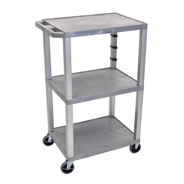 "Luxor 42"" Three Flat Shelves AV Electric Cart - Nickel Legs, Gray"