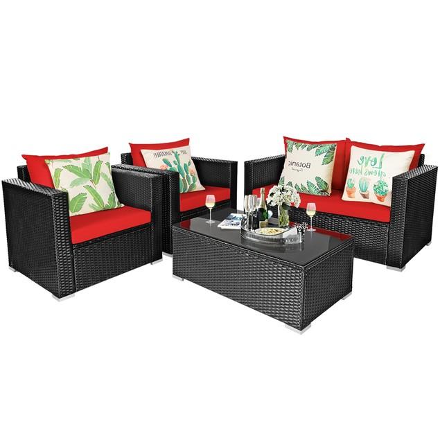 Costway 4-Piece Rattan Patio Furniture Set