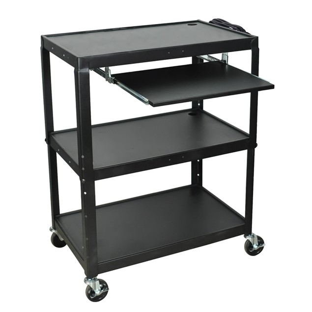 """Luxor 42"""" Extra Large AV Electric Cart with Pullout Tray - Black"""