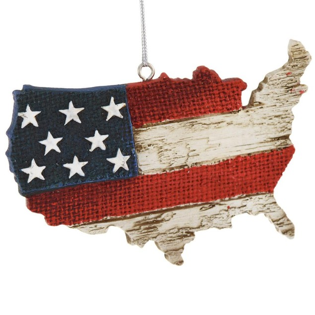 America Ornament With Red, White, And Blue Flag Design