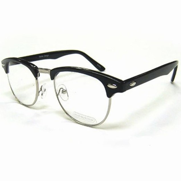 Nerdy Soho Glasses With Black and Silver Frames Malcolm X 50's 60's