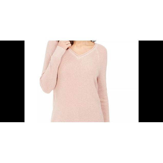 Charter Club Women's Lurex V-Neck Sweater Pink Size X-Large
