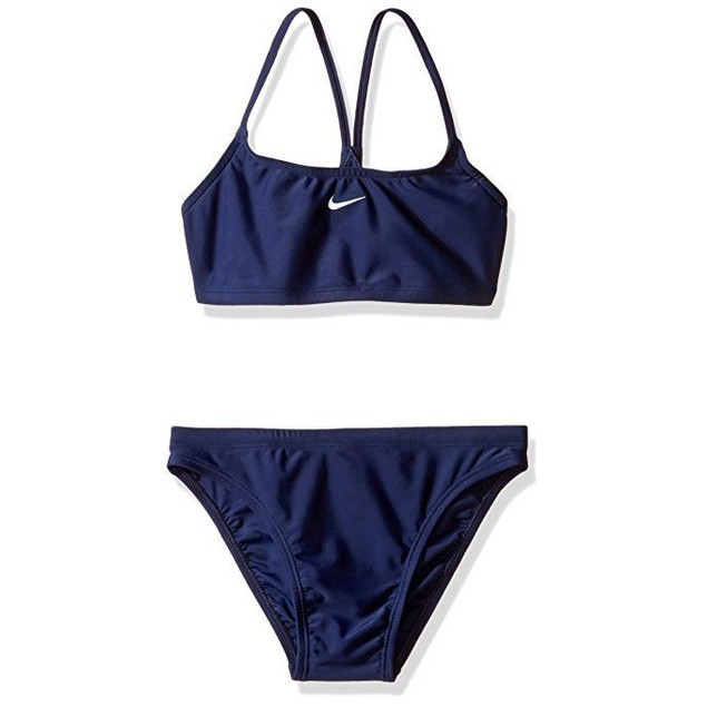 Nike Swim Nylon Core Solids Sport Top 2PC Swimsuit Set SZ 6