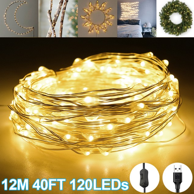 12M 40 FT 120 LED Waterproof Fairy String Light USB With Switch