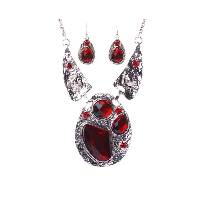 Novadab Ruby Diamond Cluster Statement Necklace For Women