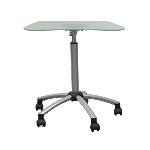 Offex Vision Mobile Cart - Silver/Frosted Glass