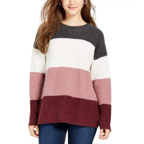 Hippie Rose Juniors' Colorblocked Thermal-Knit Sweater Red Size Small
