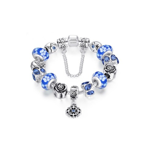 Blue Austrian Crystal And Murano Beads Bracelet With Flower Charm