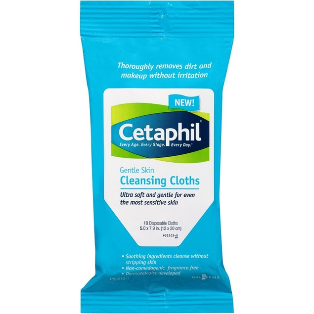 Cetaphil Skin Cleansing Cloths Gentle Soap, Ophthalmologist Tested, 10 Ct