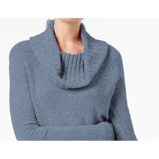 INC International Concepts Wo Cowl-Neck Chenille Sweater Blue Small
