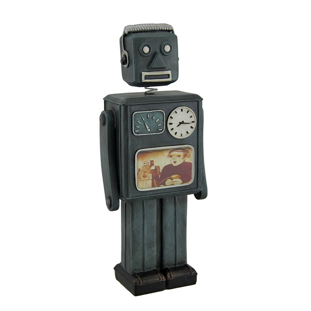 Green Vintage Finish Retro Bobble Head Robot Coin Toy Banks