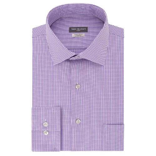 Van Heusen Men's Flex Collar Stretch Check Dress Shirt Purple Size 32-33