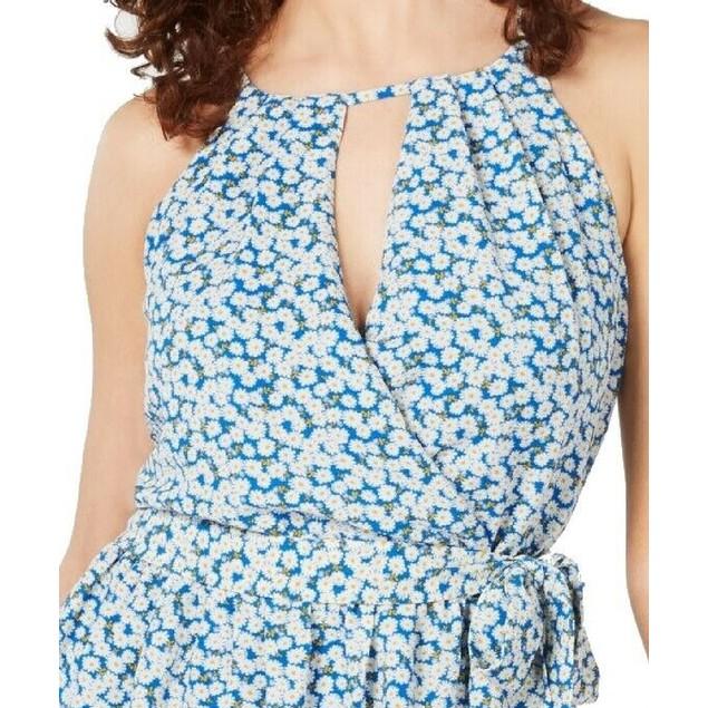 BCX Junior's Floral Cut Out Casual Dress Blue Size Medium