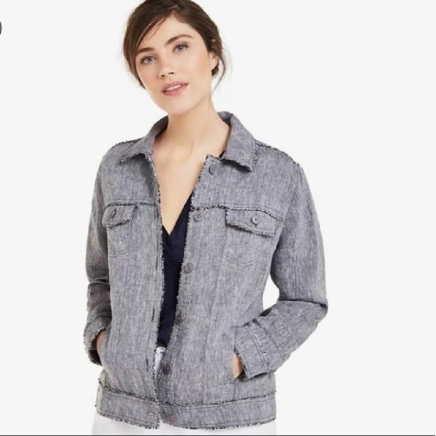 Charter Club Women's Linen Jacket Charcoal Size Medium