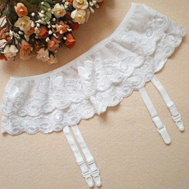 Lady Double Layers Floral Garter Belts Skirt Stocking Suspenders