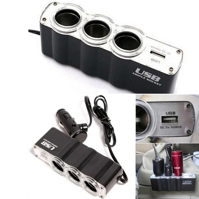 Three-Socket Car Charger Adapter Splitter