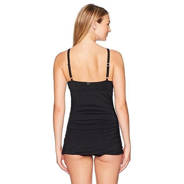 Jantzen Women's Solid Swim Dress One Piece Swimsuit, Black, 14