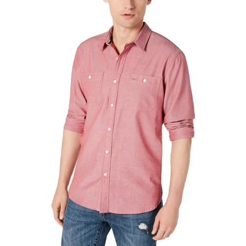 American Rag Men's Micro Herringbone Shirt Pink Size 2XL