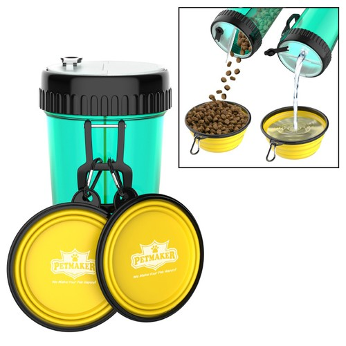 3-In-1 Travel Pet Feeding Containers-Complete 5-PC Set of 2  Bowls